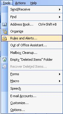 Outlook: Creating Rules (versions 2003, 2007, 2010, and 2013