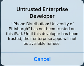 Untrusted Warning after Installation of Pitt App Store on iOS 9 Device