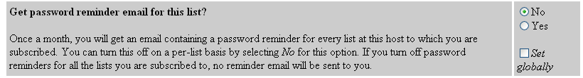 Password Reminder Email Options