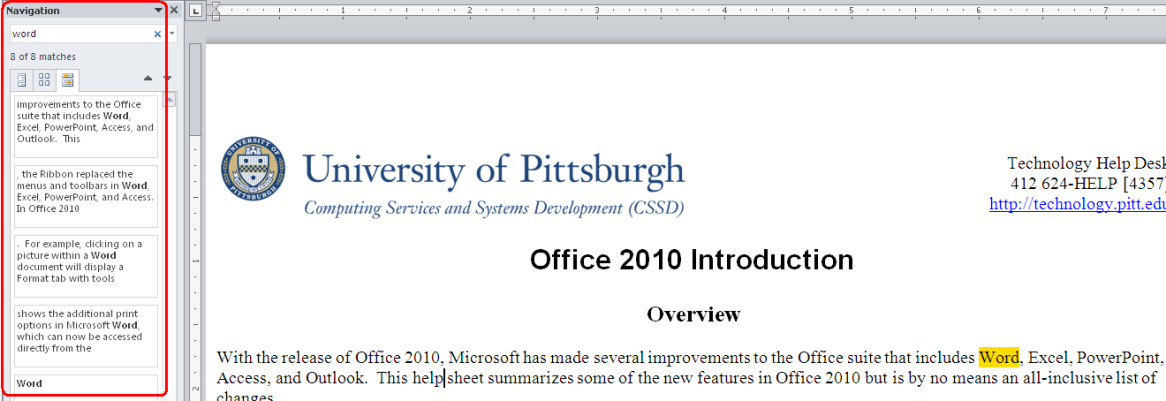 Office 2010 Introduction Information