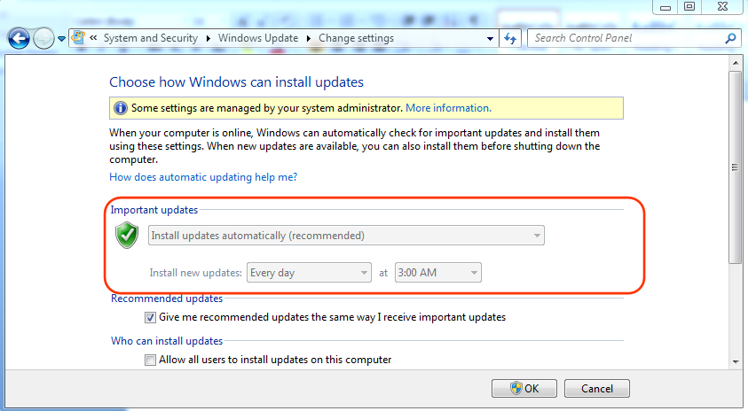 Windows Update Installation Options