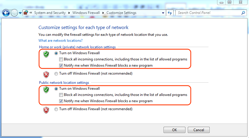 Windows Firewall Customize Settings
