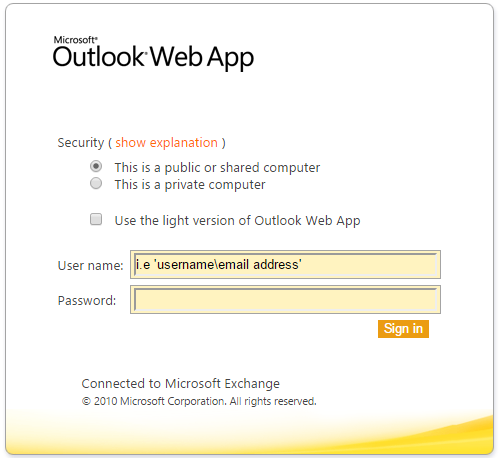 Fake Outlook Web App page