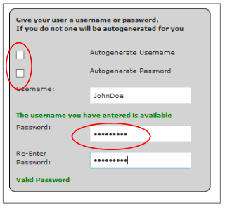 Username and Password Options
