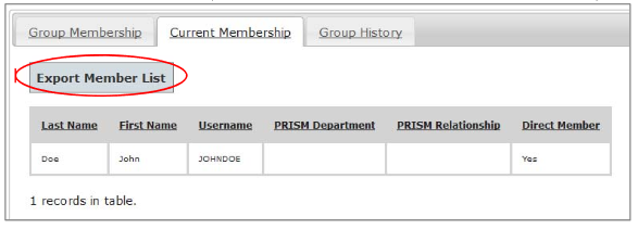 Current Membership Tab