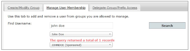 Manage User Membership Tab