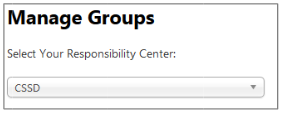 Manage Groups Responsibility Center Drop Down
