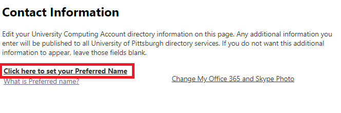 screenshot of setting preferred name in accounts.pitt.edu