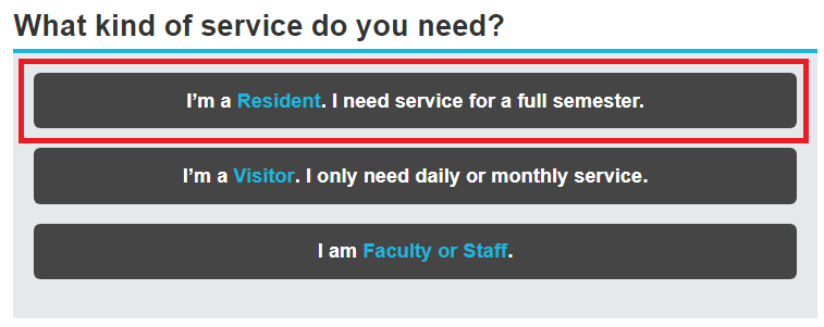 Service Options with I'm a Resident Highlighted