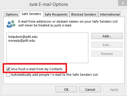Microsoft Outlook Junk Email Options