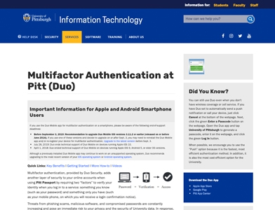 Multifactor Authentication Screen