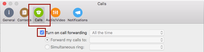 Click Calls and then Turn on Call Forwarding