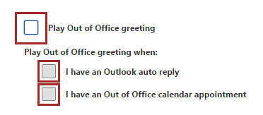 Select out of office options