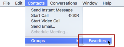 Select Contacts Groups Favorites