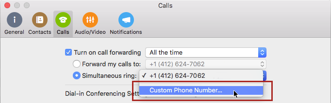 Select Simultaneous ring and Custom Phone Number