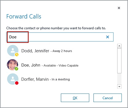 Enter name in Forward Calls window