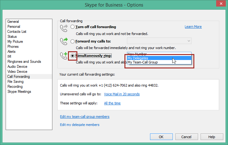 Skype for Business: Boss-Admin Call Coverage Procedures