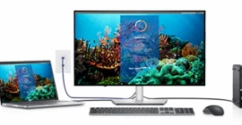 Dell laptop, docking monitor, and accessories